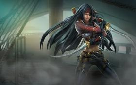 Обои девушка, туман, корабль, повязка, ножи, пиратка, кинжалы