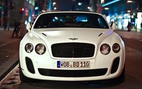 Картинка ночь, city, фото, фары, Bentley, перед, cars