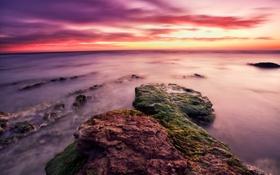 Обои закат, камни, Sicily, пейзаж, Granelli, ITALI, море