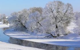 Картинка река, деревья, иней, зима, снег, небо