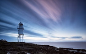 Обои Clouds, Lighthouse, long exposure, Black Nore Point