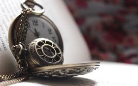 Обои часы, книга, цепочка, страницы