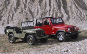 Обои камни, гора, старый, jeep, новый, mixed, Wrangler