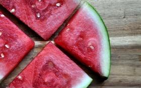 Картинка лето, макро, красный, еда, арбуз, косточки, дольки