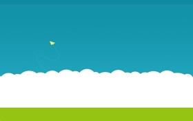 Обои Бумажный самолёт, трава, небо, тучи, минимализм