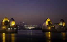 Картинка ночь, огни, река, Англия, Лондон, дома