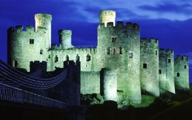 Картинка небо, свет, ночь, мост, огни, замок, крепость