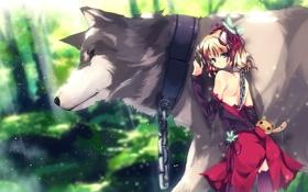 Картинка волк, цепь, девочка, wolf