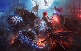 Картинка ночь, магия, луна, волк, меч, демон, маг
