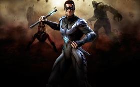 Картинка batman, character, fighting, Harley Quinn, Injustice: Gods Among Us, Solomon Grundy, nightwing