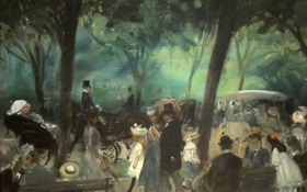 Обои деревья, парк, люди, картина, Нью-Йорк, Central Park, жанровая