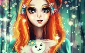 Картинка глаза, лицо, игрушка, арт, девочка, бантики