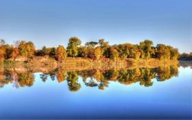 Картинка осень, деревья, отражение, река