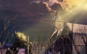 Обои свет, церковь, меха
