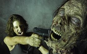 Обои пистолет, зомби, Maggie, крик, The Walking Dead, Ходячие мертвецы, Lauren Cohan