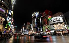 Обои улицы районе Синдзюку, crowds of people, толпы людей, streets Shinjuku district, road, Токио, buildings