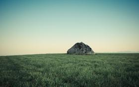Картинка зелень, небо, трава, пейзаж, природа, камень, grass
