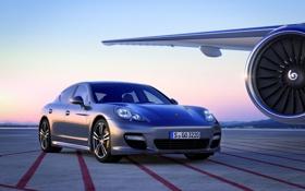 Картинка Панамера, Panamera, Порше, Turbo S, турбина, самолет, Porsche