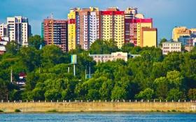 Обои Город, Река, Вид, Здания, Россия, Новосибирск