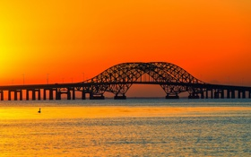 Обои закат, река, мост