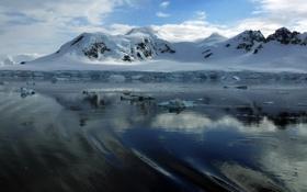 Картинка зима, вода, снег, горы, лёд, мороз