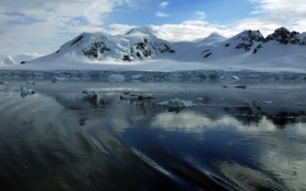 Обои лёд, мороз, зима, горы, снег, вода