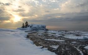 Картинка снег, восход, Hollow Rock