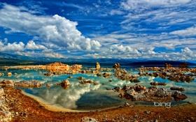 Картинка небо, облака, горы, отражение, Калифорния, США, озеро Моно
