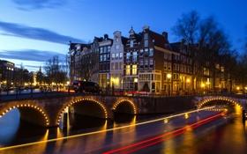 Обои небо, мост, огни, Амстердам, канал, Нидерланды, Йордан