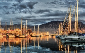 Обои море, корабли, бухта, яхты, вечер, катера, парусники