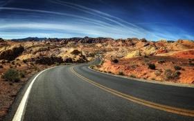 Обои дорога, небо, облака, горы, пустыня