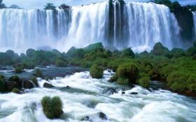 Картинка природа, водопад, виды Бразилии