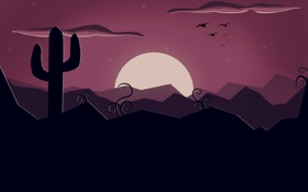 Обои солнце, закат, розовый, черный, вектор, кактус