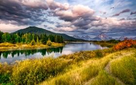 Обои осень, трава, облака, деревья, горы, река, Вайоминг