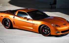 Обои оранжевый, Z06, Corvette, Chevrolet, шевроле, корвет, orange