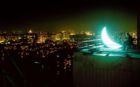 Картинка свет, ночь, город, огни, темнота, луна, человек