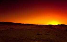 Обои небо, солнце, закат, оранжевый, камни, жёлтый, пустыня