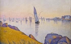 Картинка море, небо, дом, камни, лодка, рисунок, картина