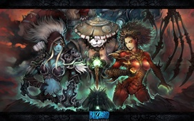 Обои панда, starcraft, blizzard, wow, world of warcraft, night elf, sarah kerrigan
