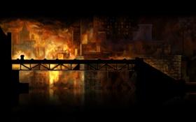 Обои пожар, здания, ночь, Braid, мост