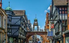 Обои Честер, люди, арка, Англия, дома, башня, улица