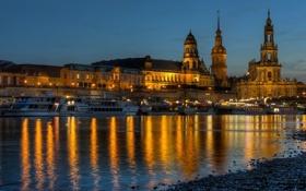 Картинка вода, свет, мост, город, огни, отражение, река
