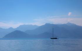 Картинка небо, облака, горы, озеро, лодка