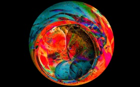 Обои круг, узор, фон, шар, объем, цвет