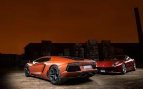 Обои свет, оранжевый, красный, отражение, Ferrari, red, lamborghini