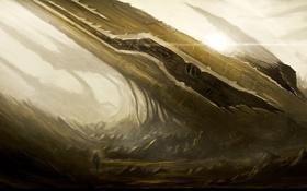 Обои скалы, человек, корабль, арт