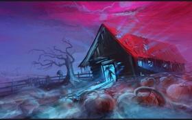 Обои дом, дерево, ограда, арт, мрачно