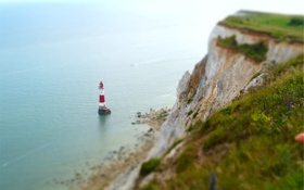 Картинка море, скала, маяк, суша, tilt-shift, тилт шифт