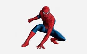 Обои красный, белый фон, red, marvel, комикс, comics, Человек-паук