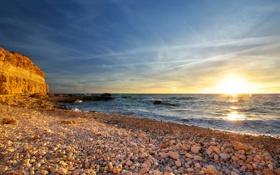 Картинка море, пляж, небо, камни, океан, скалы, побережье